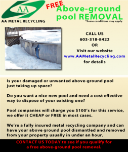Here's a copy of our above ground pool removal ad on facebook